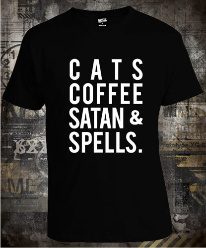 Футболка Blackcraftcult Cats Coffee Satan and Spells