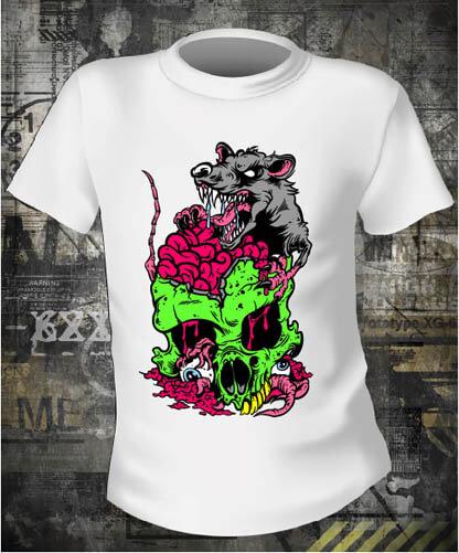 Футболка Rat and Skull Color