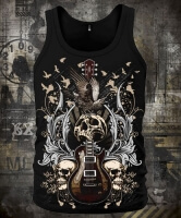 Guitar with Skulls and Ravens